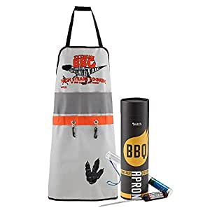 BBQ King Master Mens Grilling Apron with Digital Meat Thermometer (Dinosaur)