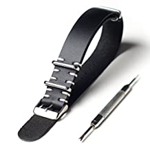 20mm Genuine Leather Vintage Style NATO Watch Strap with Stainless Hardware plus FREE Spring Bar Tool (black)