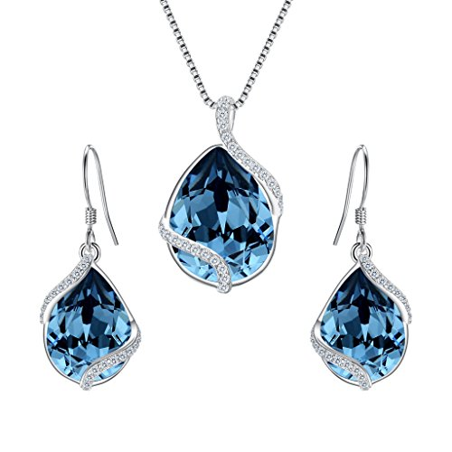 EVER FAITH 925 Sterling Silver CZ Twist Teardrop Adjustable Pendant Necklace Earrings Set Denim Blue Adorned with Swarovski ()