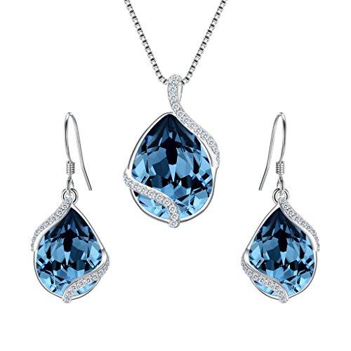 Adjustable Necklace Earrings - EVER FAITH 925 Sterling Silver CZ Twist Teardrop Adjustable Pendant Necklace Earrings Set Denim Blue Adorned with Swarovski Crystals