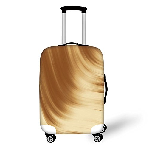 Suitcase Protector,Tan,Curved Wave Like Conceptual Artistic Display Creamy Effect Soft Colored Subtle Image,Cream Tan,for Travel ()