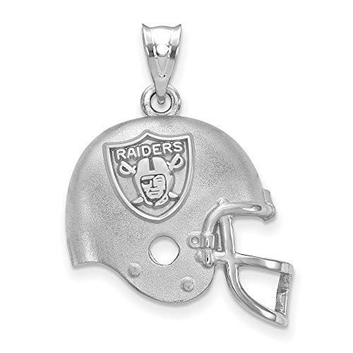 NFL Sterling Silver LogoArt Oakland Raiders Football Helmet with Logo Pendant - Logo Pendant 14kt Gold Jewelry