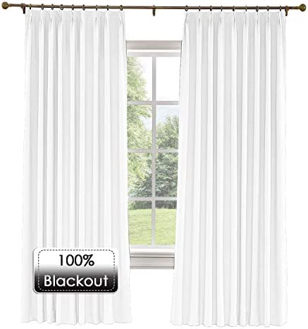 Prim Blackout Thermal Insulated Curtain Room Darkening Extra Wide Linen Pinch Pleated Drape for Sliding Glass Door, Snow White, 120 x 96 Inches, 1 Panel