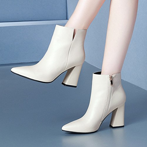 Beige de Las Ásperas Altos ZH de Zapatos de Invierno Los Caen Los de Mujeres Tacones Señalan Zapatos Y Mujer Las Mujeres con Botas Occidentales de PS4POxp