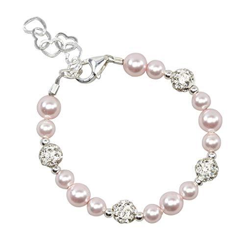 Bracelet Pearl Baby Pink - Crystal Dream Elegant Pave Beads with Pink Swarovski Simulated Pearls Stylish Sparkly Sterling Silver Infant Bracelet (BSHWP_M)