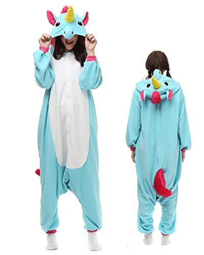 HiRosy Unisex Unicorn Onesie Pajama For Adult, Kigurumi Women & Men Animal Unicorn Costumes (Medium, Blue Unicorn)