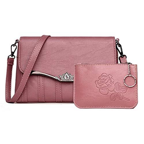 Bolsos de Pink Piezas de de 27x6x17cm Bandolera Set Pink 2 Mujer Cuero nqgq7Z
