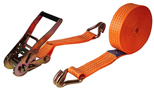 "Premium Ratchet Tie Down, Maxxprime 33' x 2"" 10, 000 lbs Rated Capacity Tie-Down Ratcheting Cargo Truck Straps with Double J-Hooks - German Quality by MAXXPRIME (Image #4)"