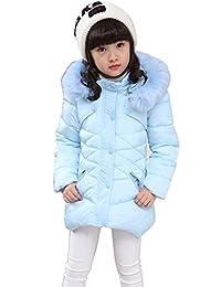Agujat Child Kids Girls Winter Warm Jackets Snowsuit Hooded Windbreaker Outwear with Soft Fur Hoodies for 3-12 Years Old