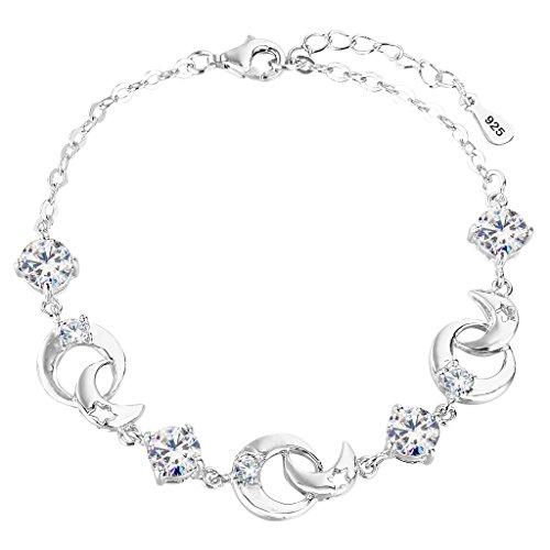 "EleQueen 925 Sterling Silver Round CZ Moon Star Bracelet Chain, 6.9""+1.3"" Extender"