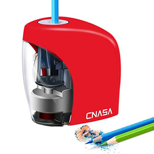 Electric Pencil Sharpener,Electrical Pencil Sharpener for NO.2 Pencils and Colored Pencils,Portable Automatic Electric Sharpener Feature for Home/School/Classroom/Office,USB or 2AA Batteries RED