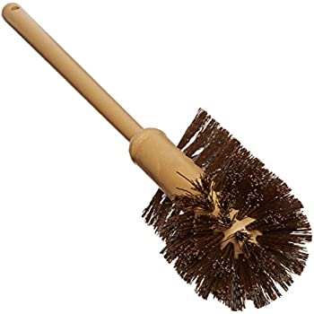 """Rubbermaid 6320 17"""" Overall Length, 1-1/2"""" Trim Length, Brown Color, Polypropylene Fill, Toilet Bowl Brush with Plastic Handle"""