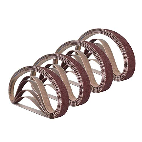 1/2 Inch x 18 Inch Sanding Belts, 4 Each of 60/80/120/180/240 Grits, Belt Sander Tool for Woodworking, Metal Polishing, 20 Pack Aluminum Oxide Sanding Belt (1 2 X 18 Inch Sanding Belts)