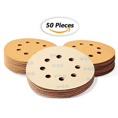 SPEEDWOX 50 Pcs 5 Inches 8 Hole Sanding Discs 60 Grit Dustless Hook and Loop Sandpaper for Random Orbital Sander Yellow Finishing Discs for Automotive Woodworking from SPEEDWOX