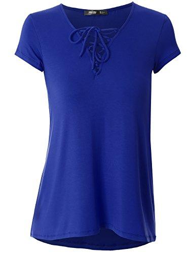 Prime Hot JayJay Women Cute CrissCross Neck Short Sleeve Casual Shirt Top,ROYALBLUE,S