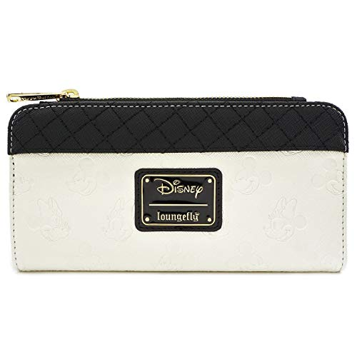 Loungefly Mickey and Minnie Debossed Heads Flap Wallet