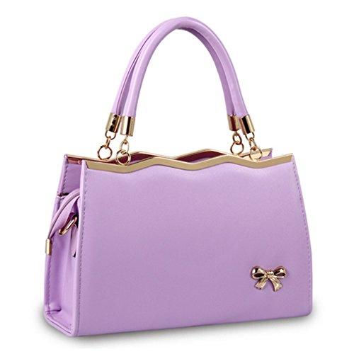 LOMOL Womens Korean Style Fashion Bow-Knot Elegant PU Leather Tote Handbag Shoulder Bag(C4)