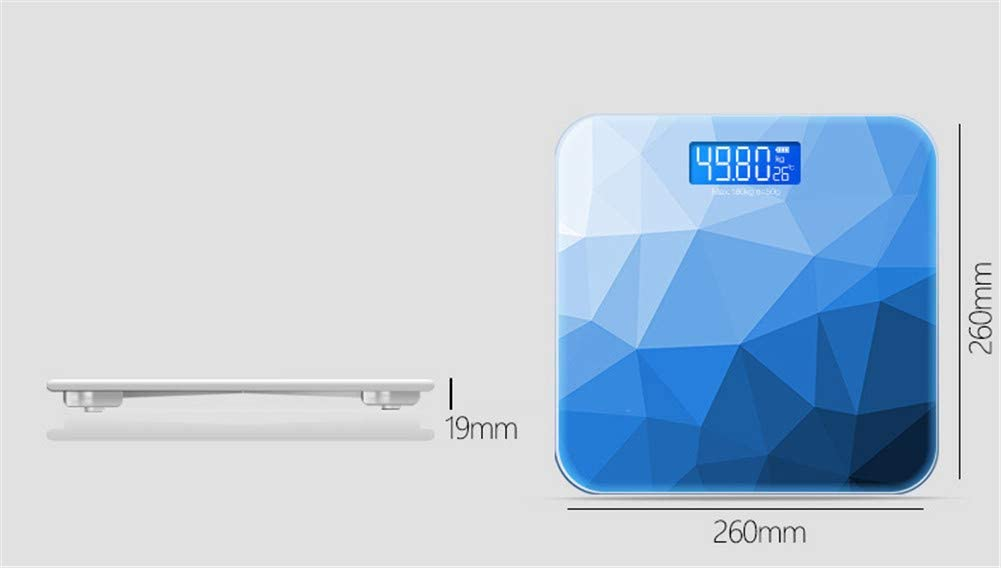 Kitrack Body Weight Scale Tempered Glass Digital Bathroom Scales Usb Charging 400lb/180kg blue
