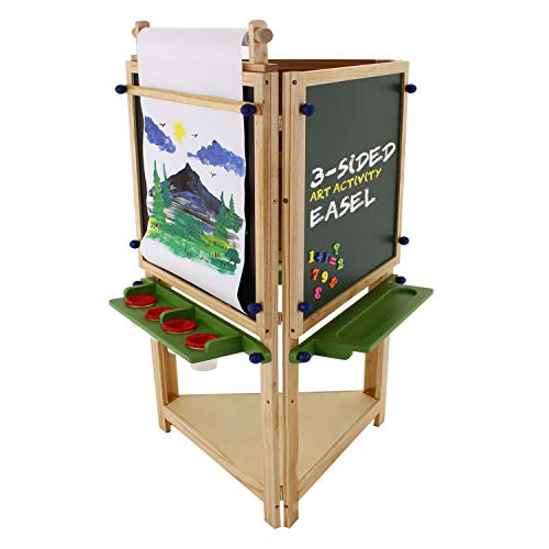 U.S. Art Supply Children's 3-Sided Art Activity Easel with 3 Magnetic Stations, Chalkboard, Blackboard, Dry Erase White Board, Paper Roll, Paint Cups Shelf - Kids Learn to Paint, Draw, Write, Have Fun ()
