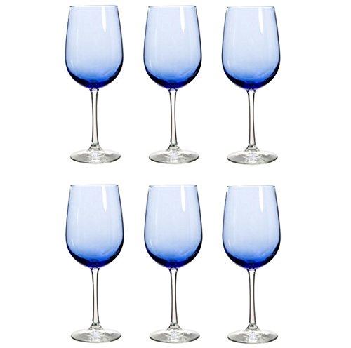 Libbey Glass Vina Mediterranean Blue Stemware Collection, Red Wine Glass, 18.5 Oz, Set of 6 Glasses