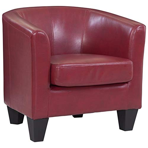 Grafton 1572-01-L02 Joseph Faux Leather Barrel Chair, One Size, Red (Red Leather Contemporary Chair)