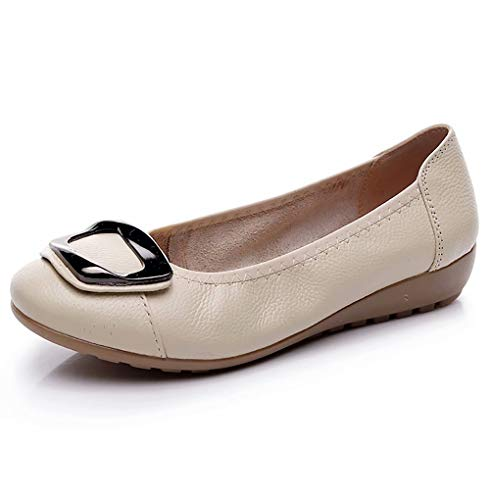 Women's Genuine Leather Comfort Ballet Flats Slip On Dress Shoes US Size 9.5 Beige (Comfort Flat Shoes)