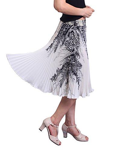 Relaxfeel Femmes Taille Haute Midi Jupe Plisse Impression noir et blanc