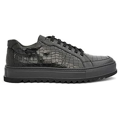 Giampieronicola Modish Black Animal Print Leather Men Casual shoes