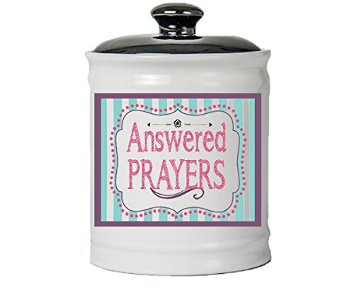 Cottage Creek Prayers Jar Answered Prayers Decorative Jar/Round Coin Bank with Lid Religious Gifts for Women [White]