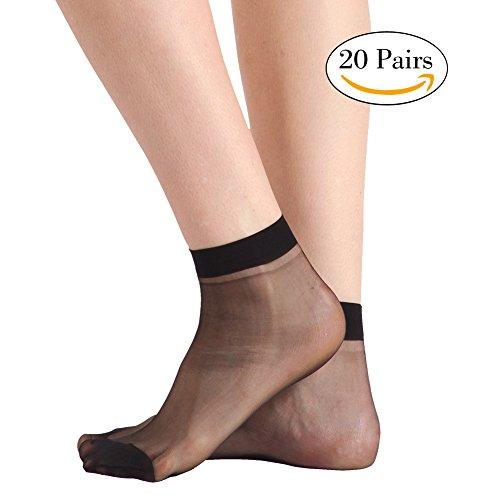 INCHER Ankle Stockings for Women, Women Nylons Black Dress Socks High Heeled Shoes Ankles Sheer Socks For Women Ankle Socks Pantyhose 20 Pairs, Black