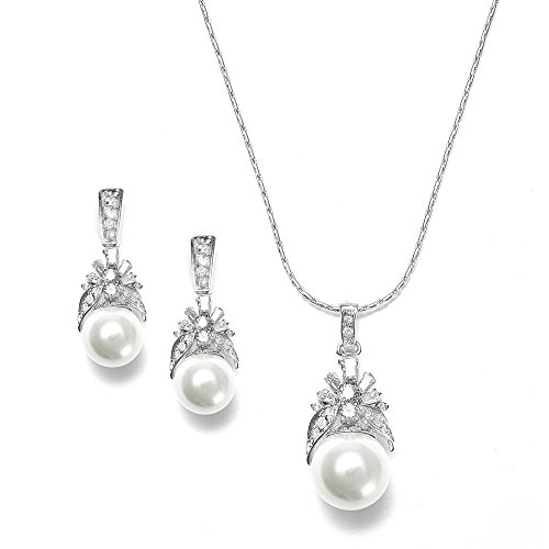 Mariell Light Cream Pearl Drop Bridal Necklace & Earrings Set with Vintage CZ - Great Bridesmaids Gift
