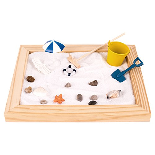 Deluxe Wooden Zen Sand Garden with Beach Toys, Shells, Rocks, Sand, and Rake (Model# RG-005)