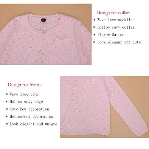 Girls Bolero Shrugs Long Sleeve Cotton Cardigan Jacket Sweater for Little Girls Hot Dress Cover up