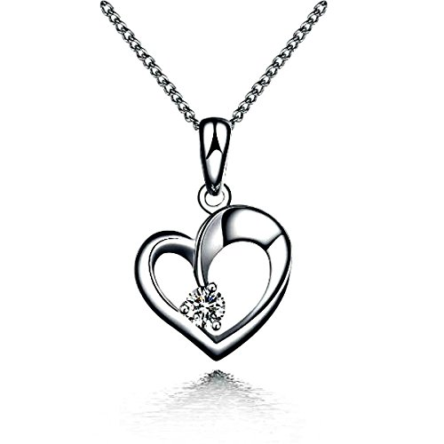 (TEJ 925 Sterling Silver Love Heart Cubic Zirconia Pendant Including Curb Chain 16 - 18')