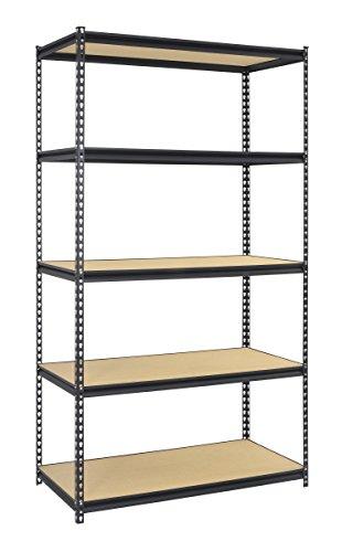 "Muscle Rack UR482484BLK Boltless Storage Rack with 5 Shelves, 4000 lb Capacity, 48"" Width x 84"" Height x 24"" Depth, Black"