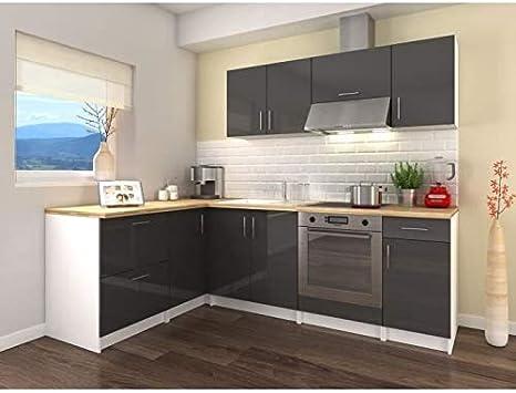 Cocina de esquina completa de 2,80 m, modelo City – Gris lacado brillante: Amazon.es: Hogar