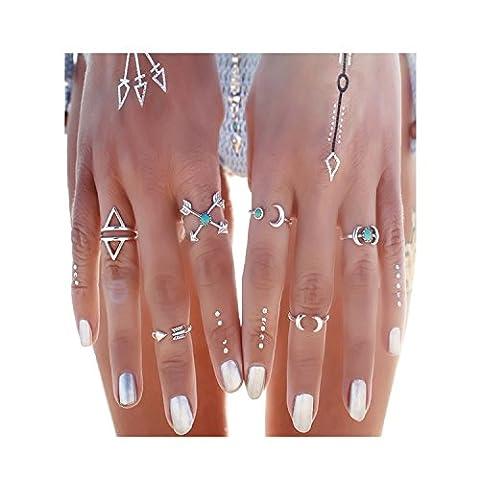 YILIN 3-14PCS Vintage Silver Boho Carved Hollow Totem Joint Knuckle Nail Midi Ring Set (White 7) (Boho Rings Silver)