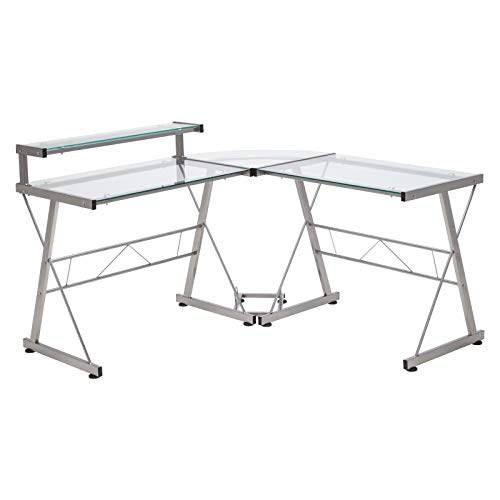 Mecor L-Shaped Corner Computer Desk with Shelf & Stand, Glass Laptop PC/Computer Table Workstation Home Office Furniture, Glass & Metal, Clear by Mecor (Image #7)