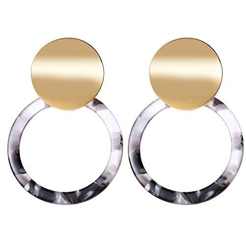 Round Black Resin Earrings Geometric Statement Tortoise Shell Hoop Earrings Acrylic Dangle Bohemian Earrings Drop Mottled Stud Earrings Metal for Women Girl