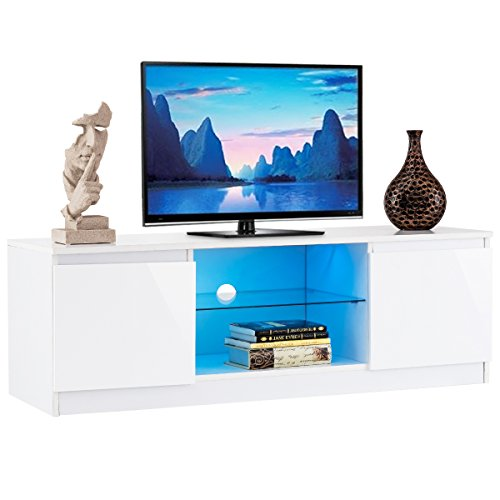 Tangkula TV Stand Modern High Gloss Media Console Storage Cabinet Entertainment Center with LED Light, Shelves, and Cabinets (White) (High Modern Gloss)