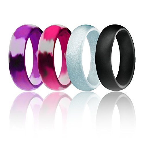Silicone Wedding Ring For Women By ROQ, Set of 4 Silicone Rubber Wedding Bands - Purple Camo, Pink Camo, Black, Silver - Size 7