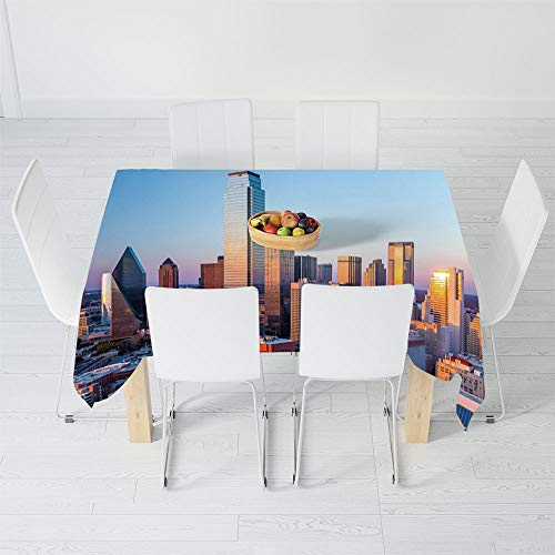 Printed Tablecloth,United States,for Rectangle Table Kitchen Dinning Party,60.2 X 30.3 Inch,Dallas Texas City with Blue Sky at
