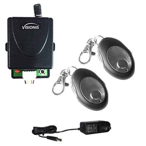Visionis FPC-5228 2 Mini 315mhz Wireless Fixed Code Remote with One Channel RF Receiver and Power Supply Kit