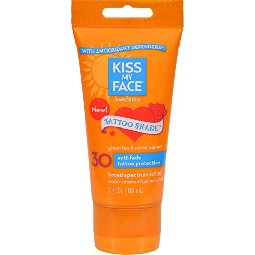Kiss My Face Sunscreen - Tattoo Shade SPF 30 - Antioxidant Defenders - 3 oz (Pack of 2) - Sunblock For Tattoos