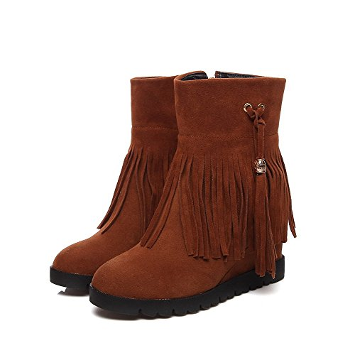 AgooLar Round Suede Solid Brown High Low Heels Top Boots Toe Closed Imitated Women's O51gwxqrO