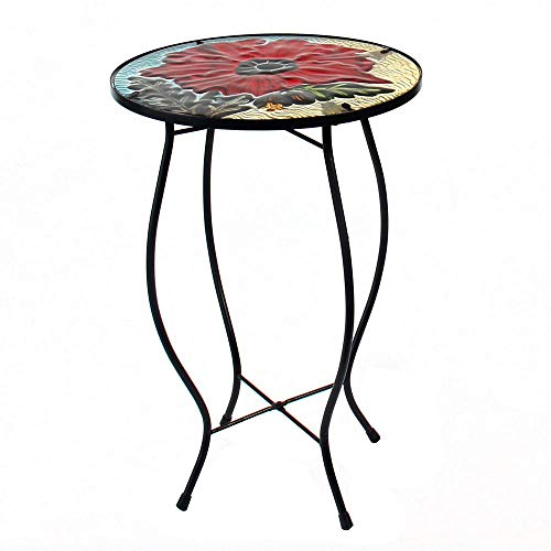 LiffyLiffy Poppy Side Table Outdoor Round Painted Glass Desk for Garden, Dining Room - 21.3'' High ()