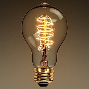 Amazon.com: 60 Watt   Vintage Antique Light Bulb   Victorian Style   4.25  Inch Length   Spiral Tungsten Filament   Multiple Supports   Brass Base    Amber: ... Photo