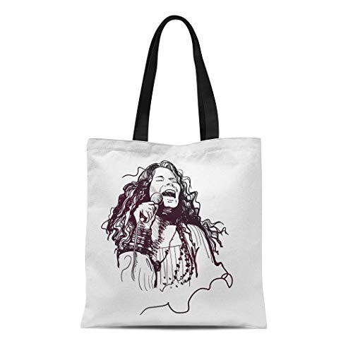 Semtomn Canvas Tote Bag American Janis Lyn Joplin Legendary Rock Star Sixties Sketch Durable Reusable Shopping Shoulder Grocery Bag