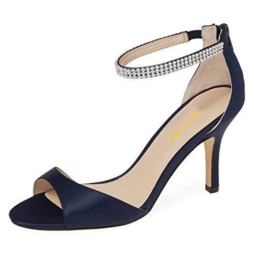 XYD Women Open Toe Rhinestones Ankle Strap Thin High Heel Satin Evening Dress Sandals Size 7 Navy Blue