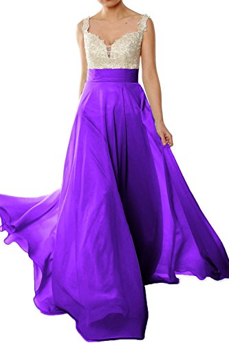 MACloth Women Straps Lace Chiffon Long Ball Gown Prom Formal Dress Wedding Party Morado